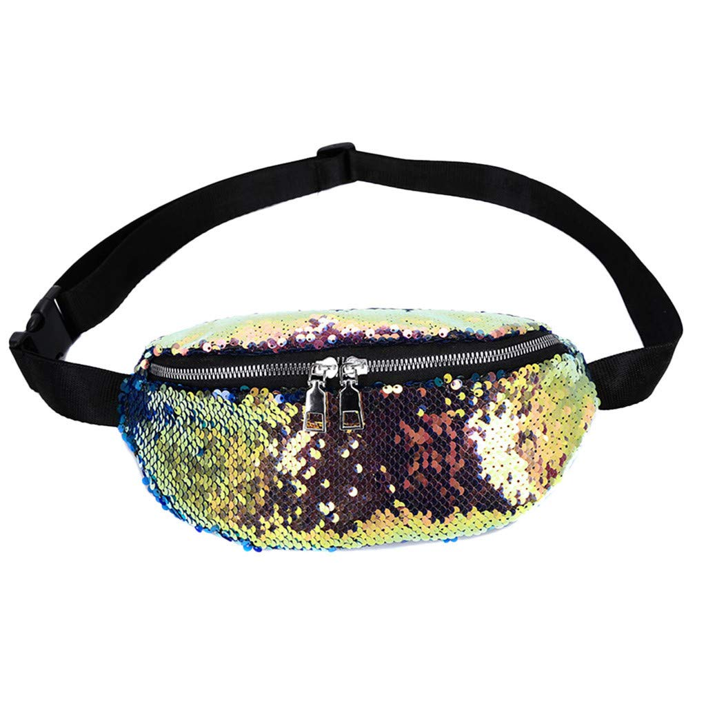 Women Fanny Pack Travel Sequin Messenger Bag Sports Chest Bag Waist Bag
