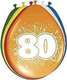 8 Globos 80th Cumpleaños de colores