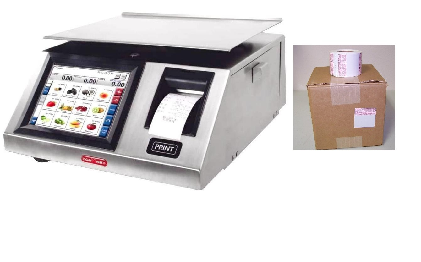 Price Computing Label Printing Scale,legal for Trade, NTEP, touch Screen, Wifi, with 1 case of Safe Handling LabelNEW by TORREY