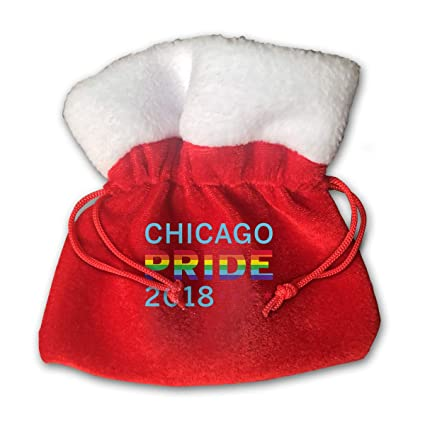 47fdaa8a30 OHMYCOLOR Chicago Gay Pride 2018 Christmas Drawstring Gift Bags Candy Santa  Sack Bag for Xmas Stocking