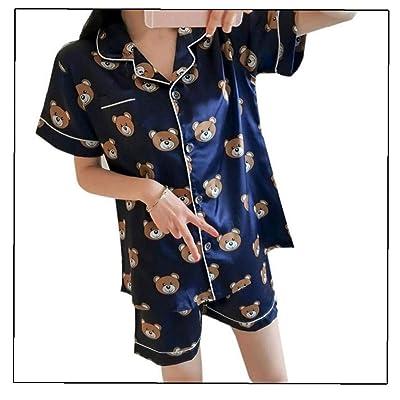 2pcs / Set Impresión Verano De Manga Corta Pijama De Seda De La Ropa De Noche Fijaron A Las Mujeres Camisa De Dormir Atractiva para La Mujer (Talla L): Ropa y accesorios