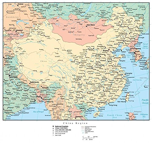 Wallmonkeys Map China Wall Mural Peel and Stick Graphic (30 in W x 28 in H) WM303133