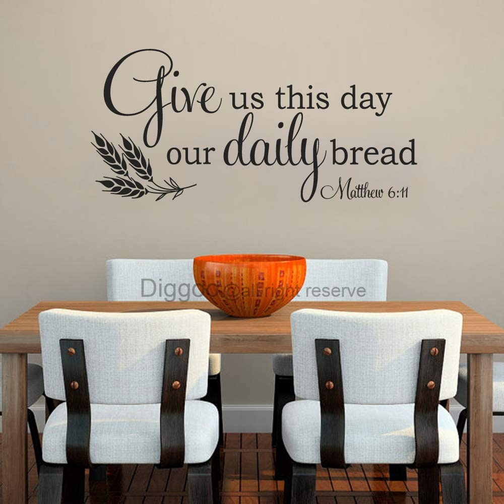 """Give Us This Day Our Daily Bread Wall Decal Matthew 6 11 Kitchen Wall Decal Quote Wall Sticker for Dining Room (Black,10.5"""" h x 22"""" w)"""