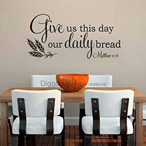 """Bible Verse Wall Decal Christian Wall Quote Give Us This Day Our Daily Bread Matthew 6 11 Kitchen Wall Decor (Black,14"""" h x 30"""" w)"""