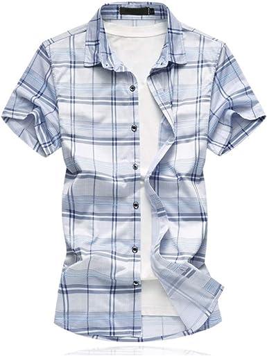 NANSHIZSCS Camisa de hombre Camisa A Cuadros Moda De Verano Camisas De Manga Corta para Hombres Camisas De Vestir para Hombre, Ocasionales Y Sociales, Talla Grande, 4XL: Amazon.es: Ropa y accesorios