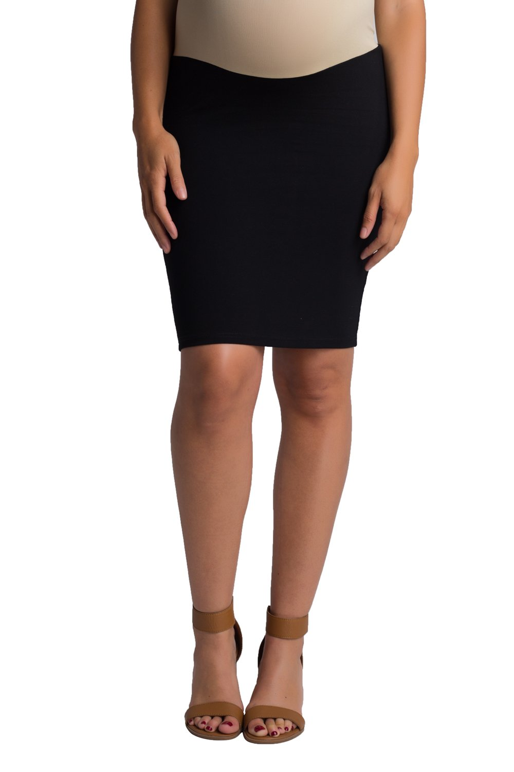 Ellie Flora Women's Over The Belly Super Soft Rayon Ponte Maternity Career Pencil Skirt