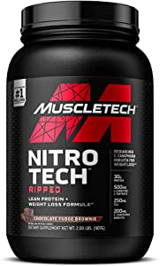 MuscleTech Nitro-Tech Ripped Lean Protein Powder + Weight Loss Formula, Whey Protein Shake Mix, 30 Grams Protein, 6.6g BCAA, Stimulant-Free, Tastes Great, Chocolate Brownie, 2 lbs (packaging may vary)