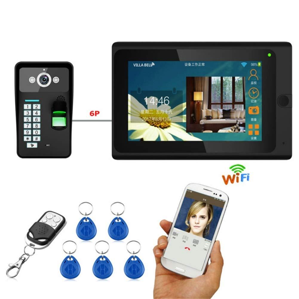 Video Doorbell,7inch Wired Wireless WiFi Fingerprint RFID Password Video Door Phone Doorbell Intercom Entry System with 1000TVL