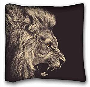 "Custom Cotton & Polyester Soft ( Cats Animal Lion ) Pillow Covers Bedding Accessories Size 16""X16"" suitable for X-Long Twin-bed PC-White-3310"