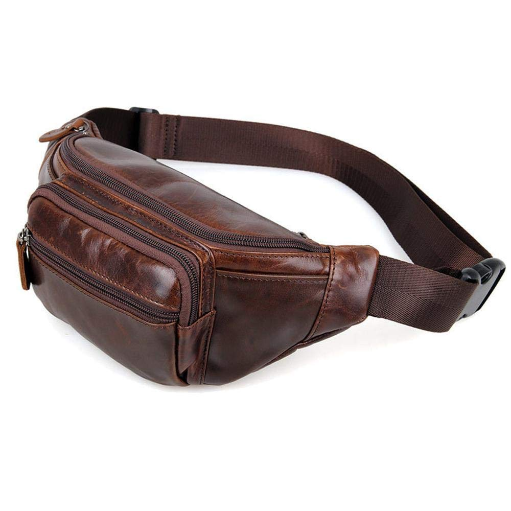 Botoushipeifangxiaomaipu Simple Mens Leather Bag Retro Oil Wax Leather Waist Bag