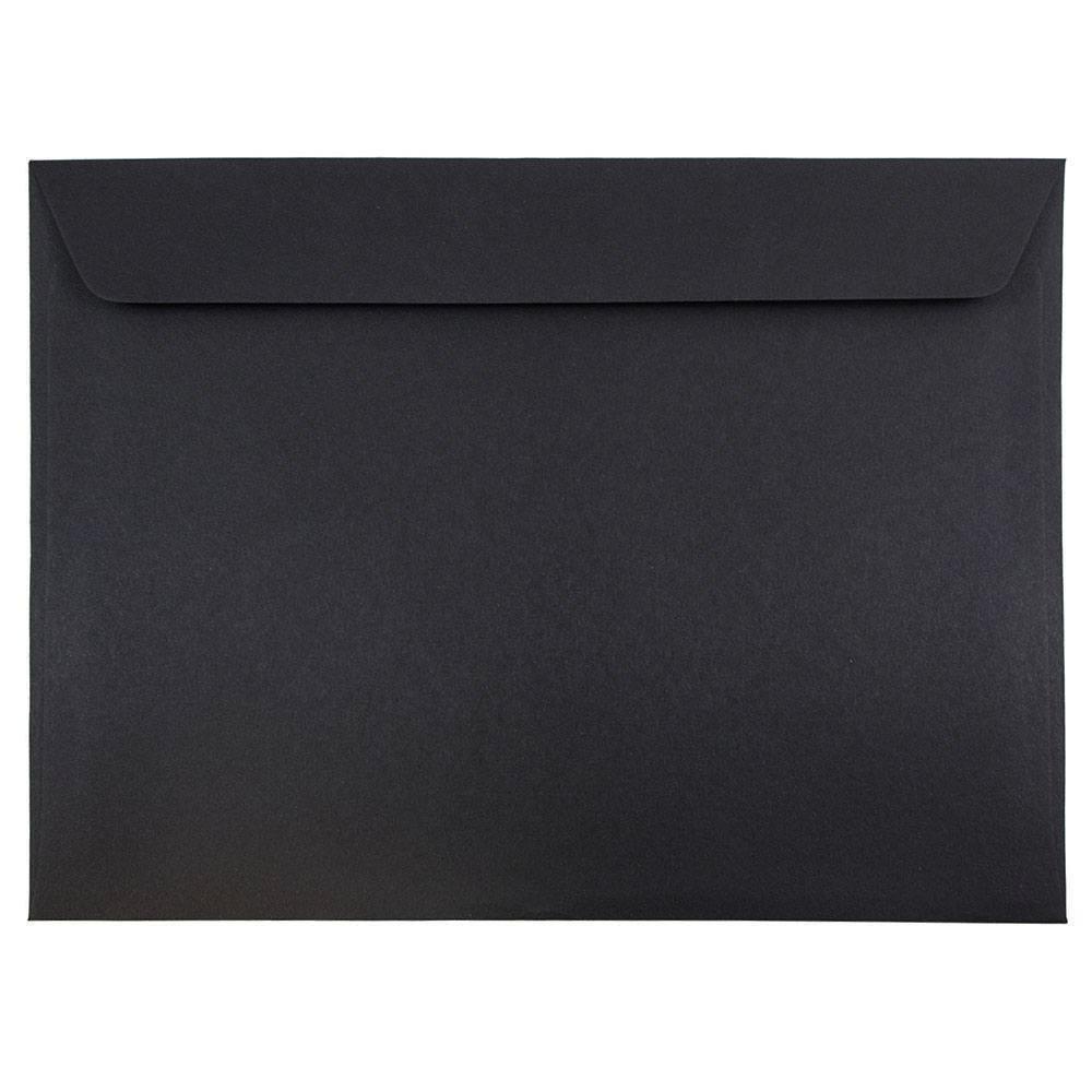 JAM PAPER 9 1/2 x 12 5/8 Booklet Envelopes - Smooth Black - 100/Pack