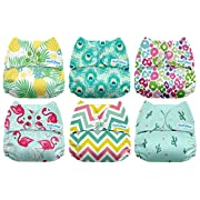 Mama Koala One Size Baby Washable Reusable Pocket Cloth Diapers, 6 Pack with 6 One Size Microfiber Inserts (Aloha)
