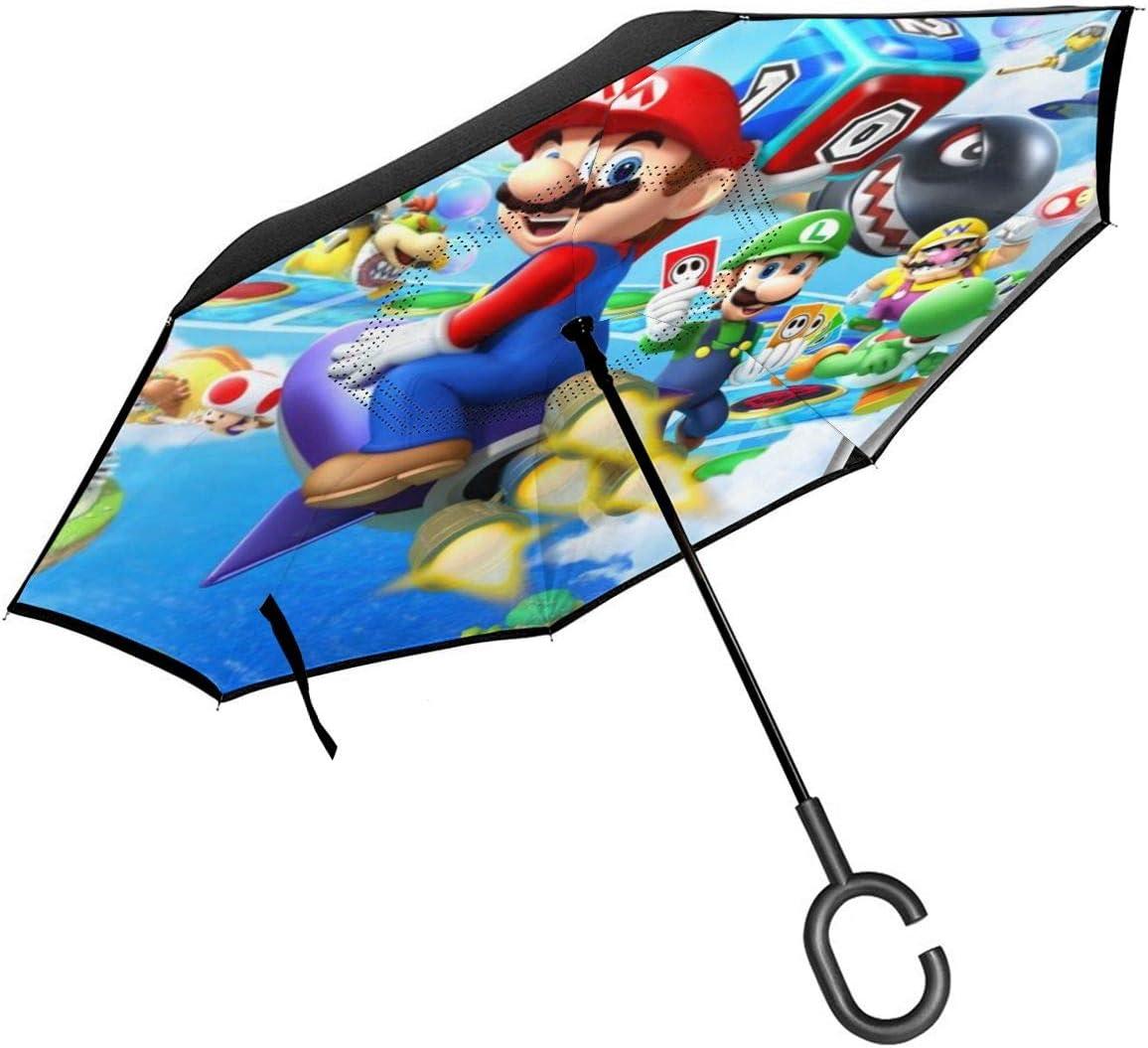 Windproof And Rainproof Double Folding Inverted Umbrella Game Super Mario Car Reverse Umbrella With C-Shaped Handle UV Protection Inverted Folding Umbrellas