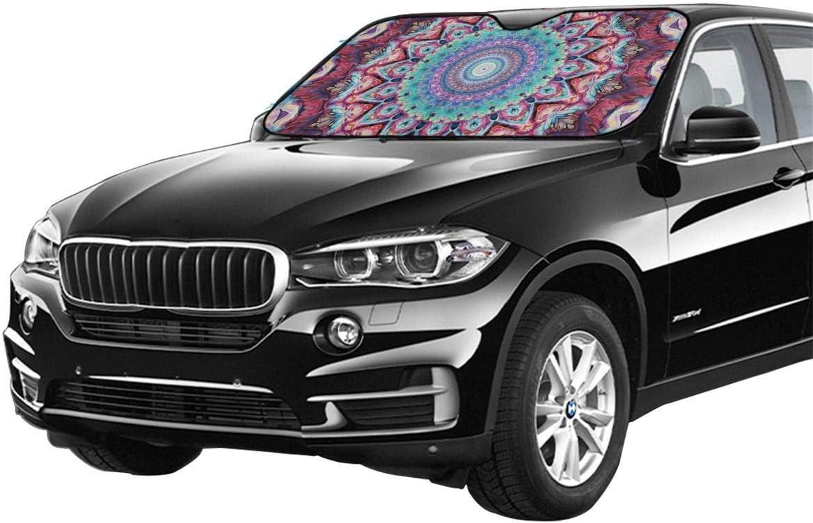 Tunyuna Hippie Mandala Bohemian PsychedelicCar Sun Shade,Windshield Sun Shade Blocks UV Rays Sun Visor Protector Keeps Vehicle Cool for Car SUV Trucks Minivans