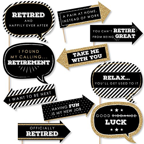 (Funny Happy Retirement - Retirement Party Photo Booth Props Kit - 10)