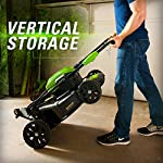greenworks 40V 21 inch Brushless Dual PH Mower with Two 2.5AH Batteries and Charger, MO40L2512 11 Includes (2) 2.5 AH - 40V Lithium Batteries Durable 21'' Steel Deck lets you Mulch, Bag, or Side Discharge allowing you to maintain your yard the way you want it Our dual battery port design enables one battery to be stored while the other fuels the mower for uninterrupted cutting; saving a you a trip to the garage