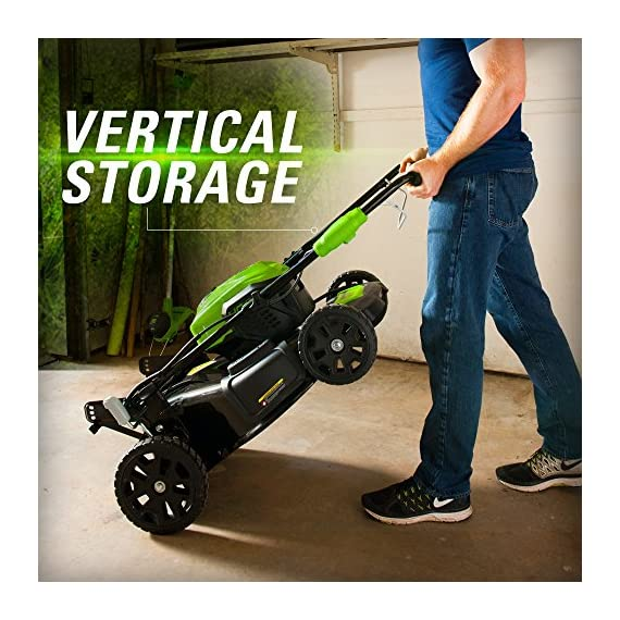 greenworks 40V 21 inch Brushless Dual PH Mower with Two 2.5AH Batteries and Charger, MO40L2512 3 Includes (2) 2.5 AH - 40V Lithium Batteries Durable 21'' Steel Deck lets you Mulch, Bag, or Side Discharge allowing you to maintain your yard the way you want it Our dual battery port design enables one battery to be stored while the other fuels the mower for uninterrupted cutting; saving a you a trip to the garage
