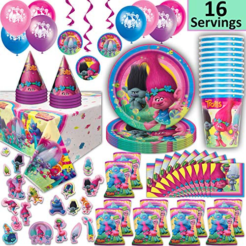 Trolls Party Supplies for 16 - Plates, Cups, Napkins, Loot Bags, Tablecloth, Hats, Balloons, Hanging Decorations, Stickers - Decorations, Favors, Tableware