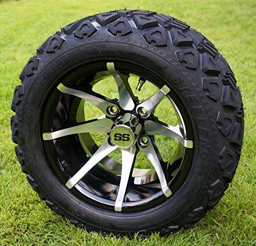 Black Golf Cart Wheels and 20x10-12 DOT All Terrain Golf Cart Tires - Set of 4 - NO LIFT REQUIRED (read description) ()