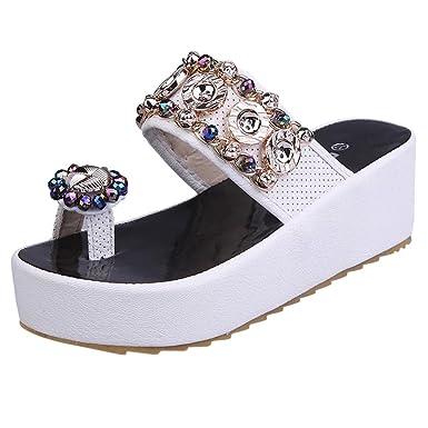 SUNNSEAN Sandalias Zapatos Mujer Verano Mujer Cristal Bling con Plataforma Casual Sandalias De Punta Redonda Plano Mocasines Casuales Calzados Zapatillas: ...