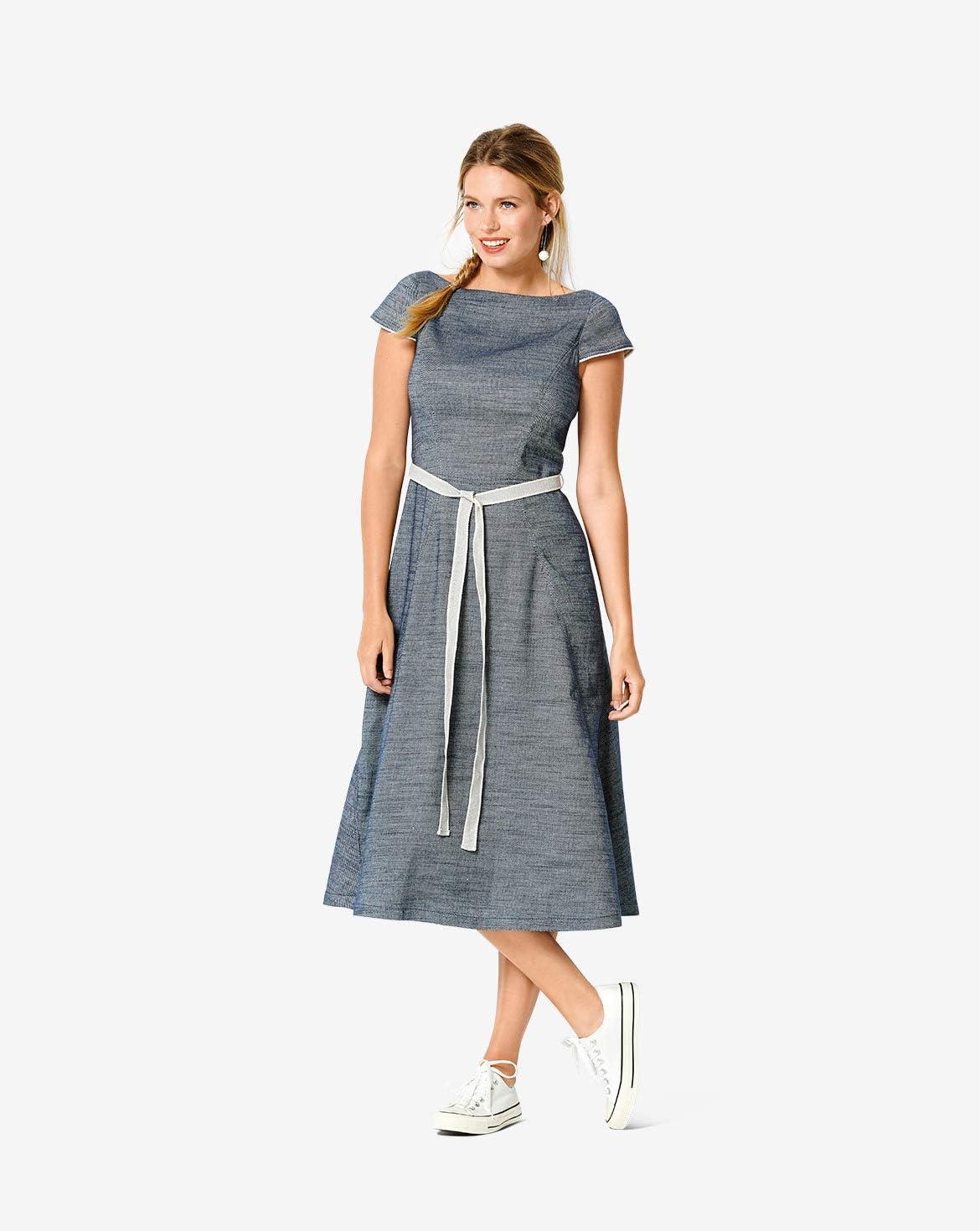 Level 3 f/ür Fortgeschrittene Damen Burda Schnittmuster 6209 Jacquard-Kleid selber n/ähen