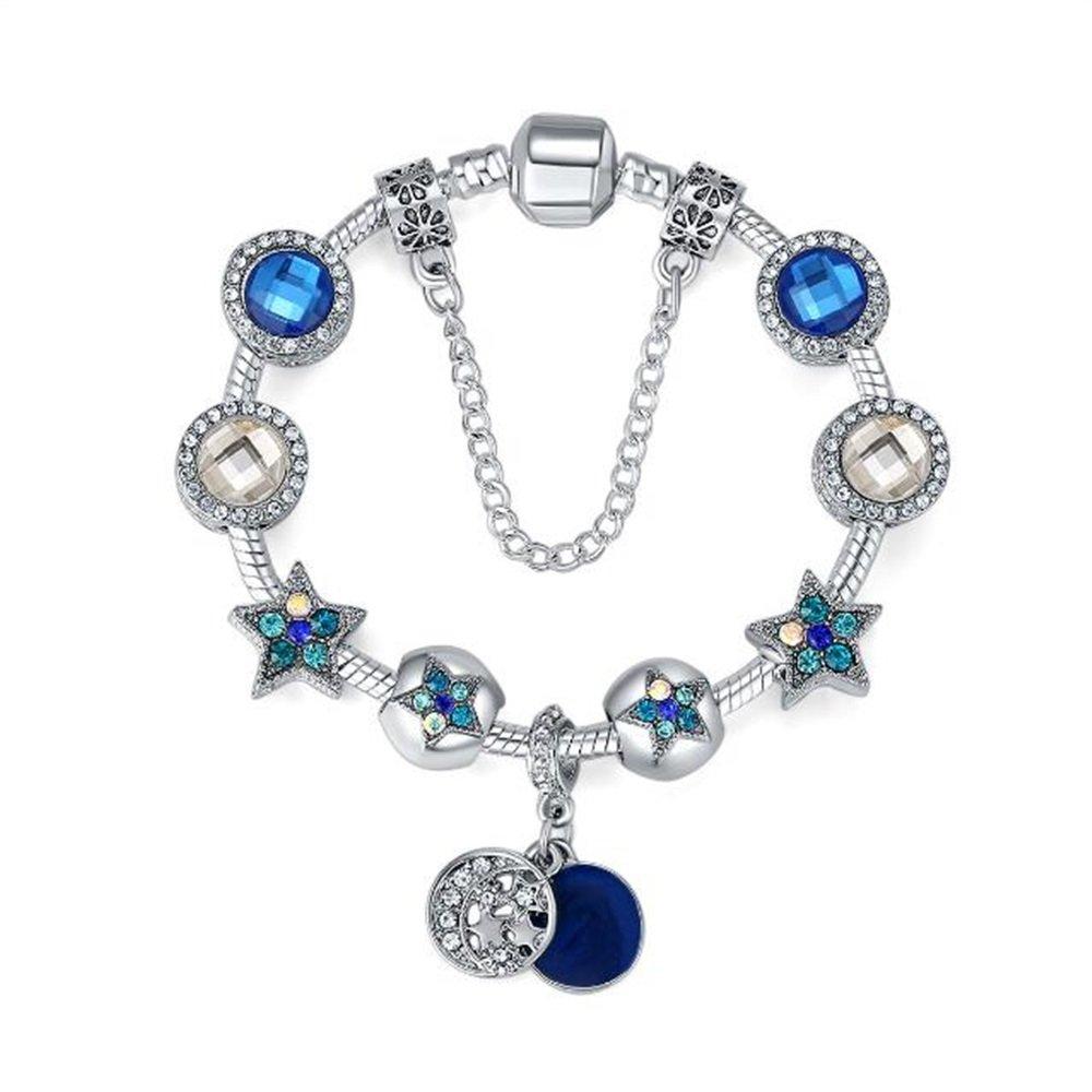 EEvER Pulsera Atractiva del Grano Pulsera de Estrella de Moda Pulsera de Cuentas de Bricolaje (Azul)