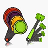 Measuring Cups and Spoons, Silicone Measuring Cups with Spoons Collapsible Measuring Cups Set for Liquid, Dry and Pet Food Measuring Space Saving, BPA Free and Non Toxic, 8PCS
