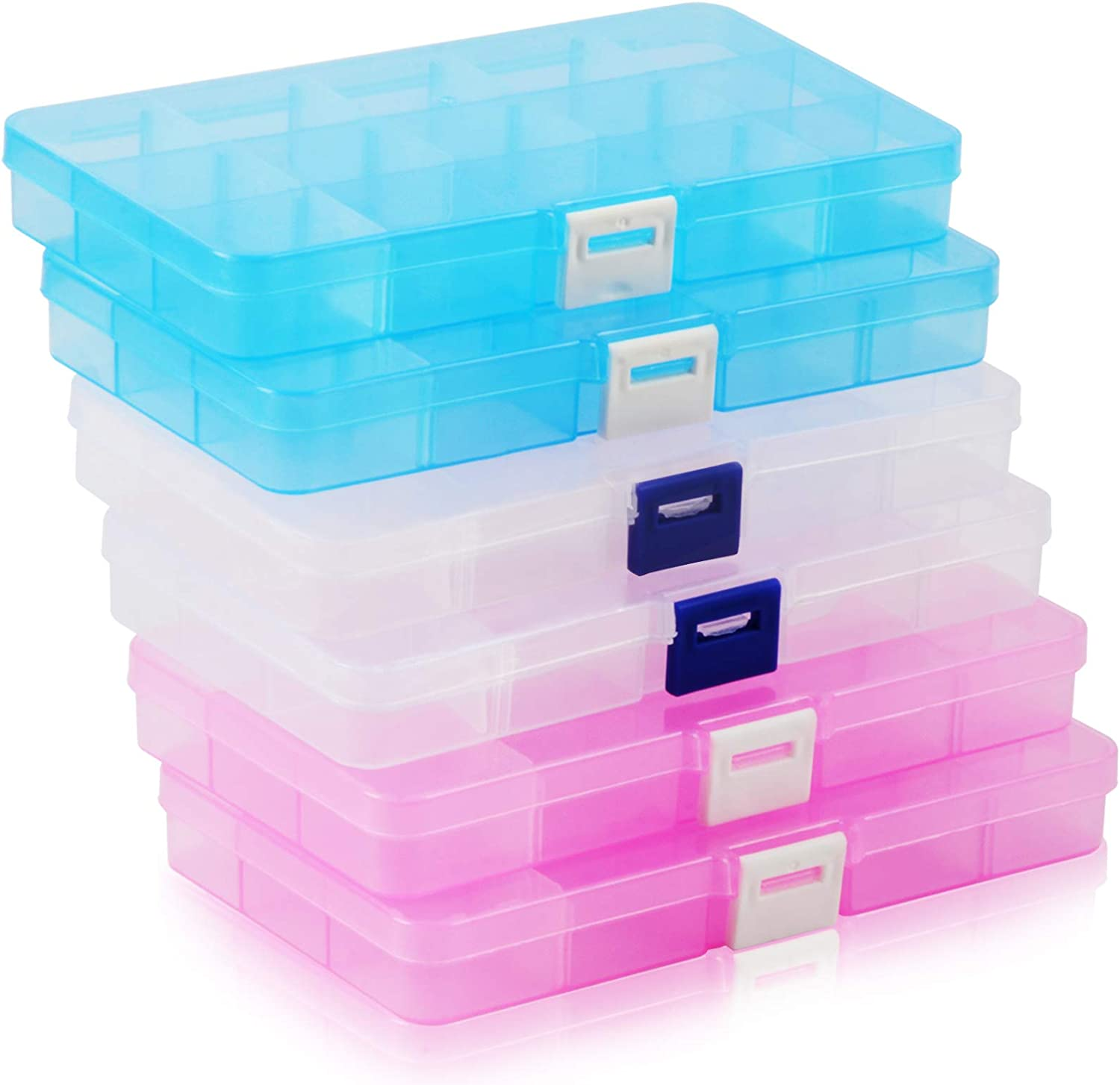HappyHapi Plastic Jewelry Organizer Box, 6 Pack 15 Little Grids Plastic Bead Storage Container with Removable Dividers for Earring, Art and Crafts, 6.8 x 3.8 x 0.84 Inch