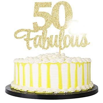 GOLD GLITTER /' 40 AND FABULOUS/'  CAKE TOPPER BIRTHDAY PARTY 50th birthday