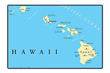 Amazon Com Water Repellent Rugs Map Of Hawaii Islands With Capital