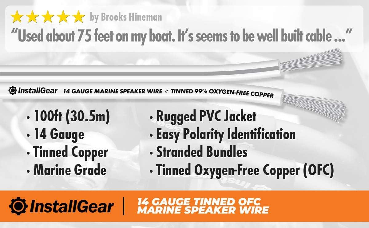 100 feet InstallGear 14 Gauge Tinned OFC Heavy Duty Boat Marine Speaker Wire