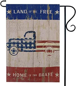 LINKWELL Vintage USA Flag Truck Garden Flag Double Sided 12.5 x 18 Inch Patriotic Small Yard Flag for Outside Yard Decor Outdoor Home Decorations GF39