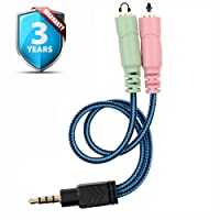 3.5mm Jack Cable Adapter Kit Mutual Convertors for PC headset PS4 PS3 Xbox and Smartphone Tablet Earphone with Headphone/Microphone Function Simultaneously Y Splitter Audio 2 Female to 1 Male