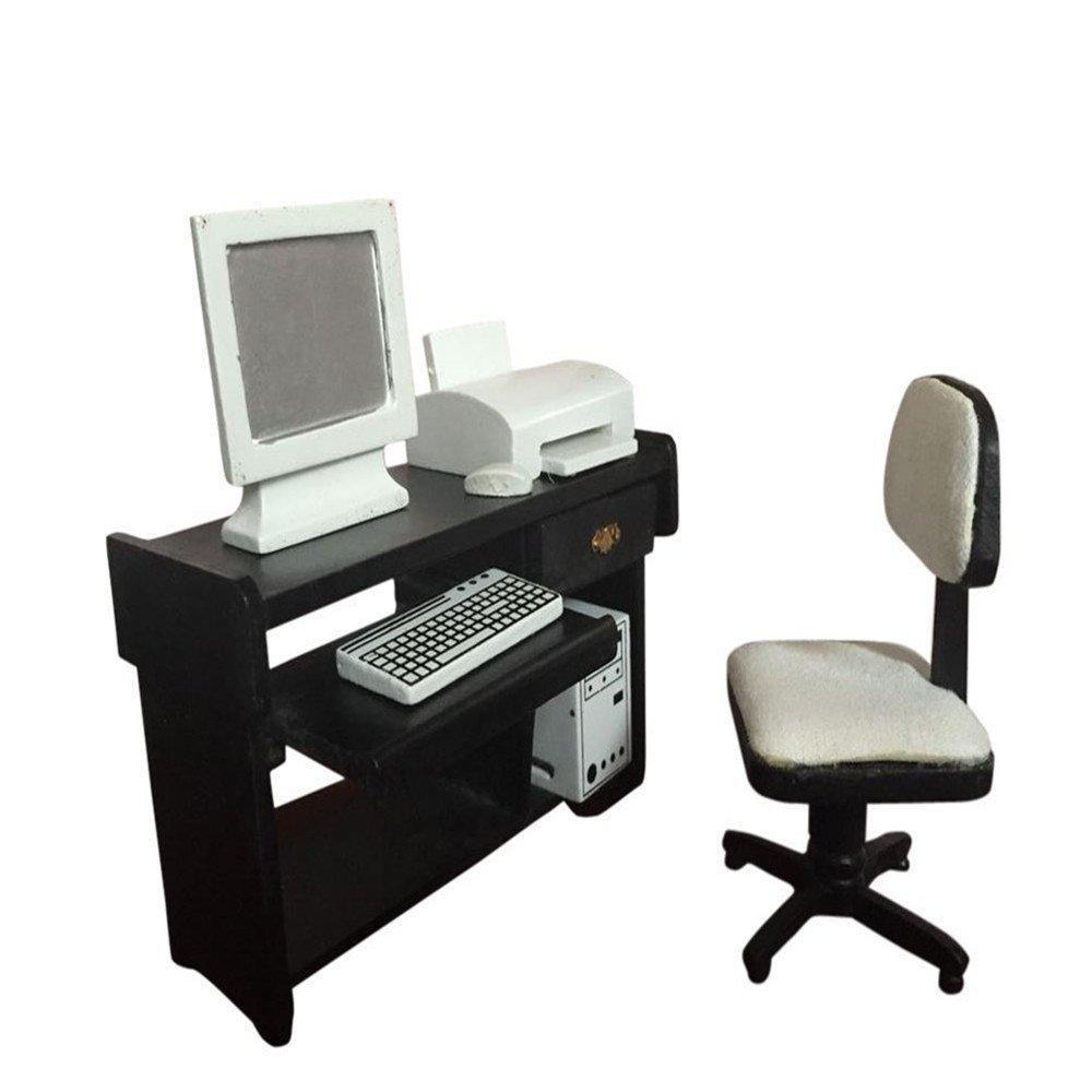 1:12 Dollhouse Miniature Furniture Accessories Computer Desk Chair Printer Set for Children Kids