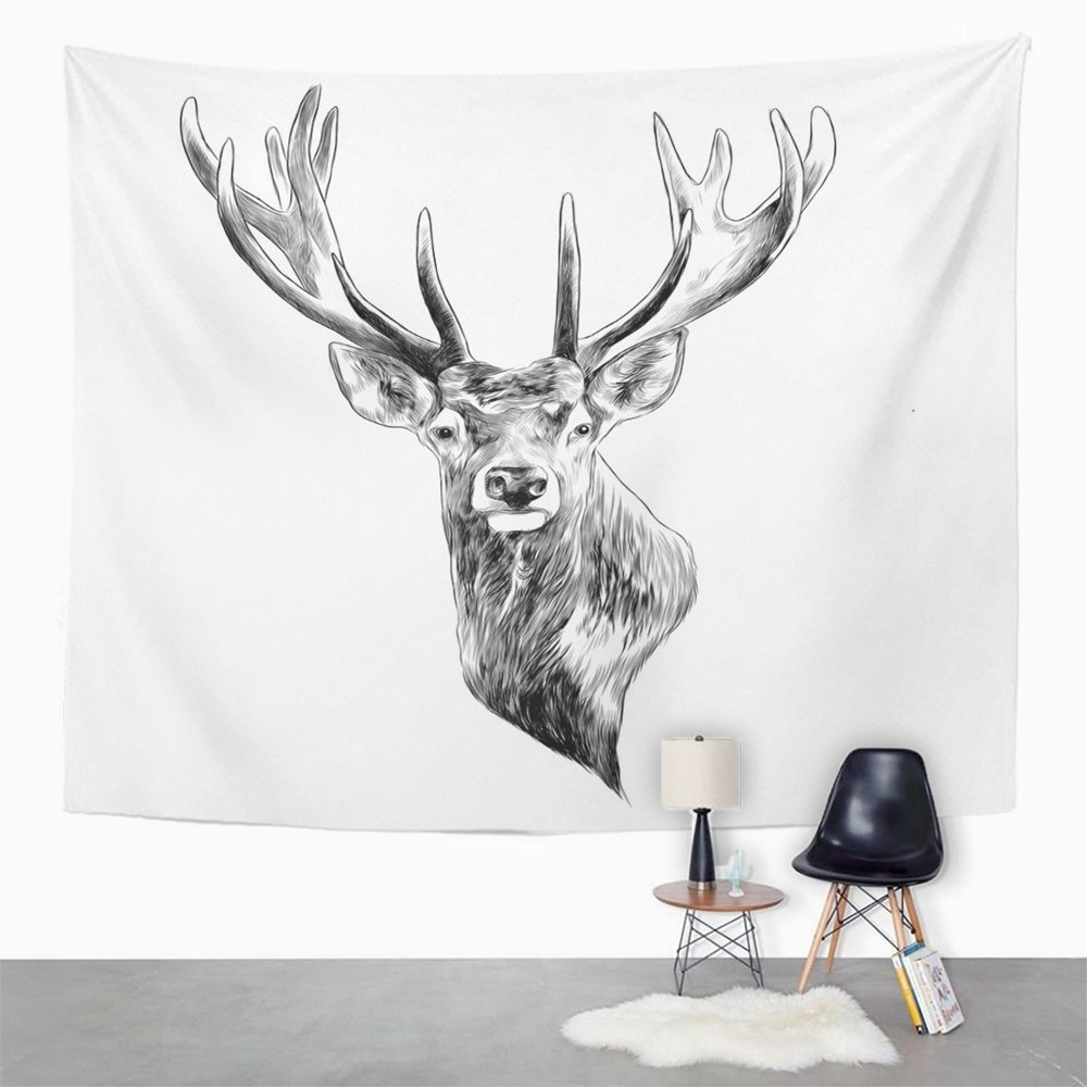 Amazon com emvency tapestry print 60x80 inches elk stag deer head sketch graphics monochrome black and white drawing drawn wall hangings home decor