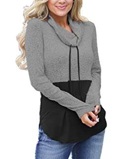 3b3d70dadea Womens Fall Cowl Neck Tops Drawstring Pullover Hoodies Color Block Long  Sleeve Casual Sweatshirts Blouses