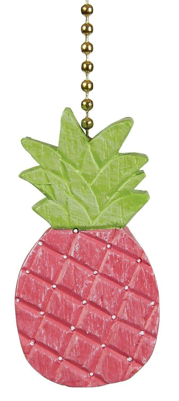 Pretty in Pink Pineapple Ceiling Fan Light Dimensional Pull