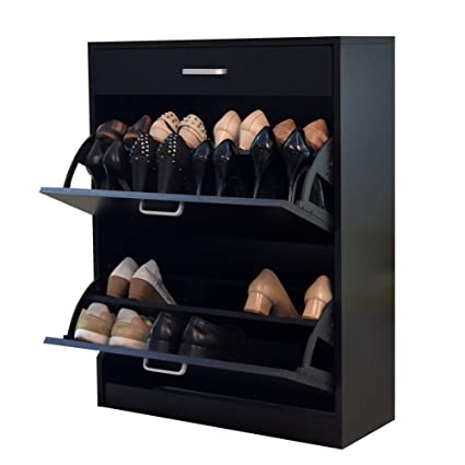 Exceptionnel GLS Black Modern Shoe Cabinet With Doors Wooden Rack Chest For Entryway