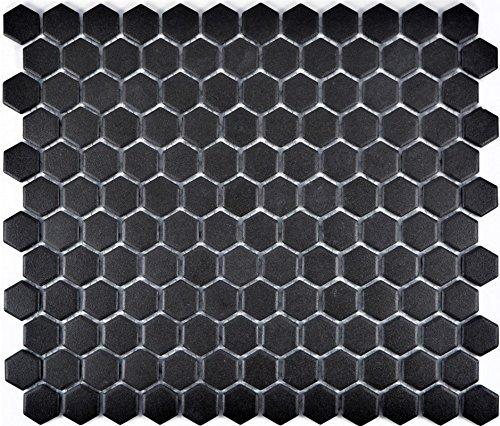 Mosaic tile ceramic hexagon black unglazed for floor wall bathroom toilet shower kitchen tile mirror counter cladding…