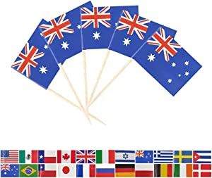 Tectsia Au Australia Country Toothpick Flag, Australian Flags, 100 Pcs Cupcake Toppers Flag, Small Mini Stick Flags Picks Party Decoration Celebration Cocktail Food Bar French Cake Flags