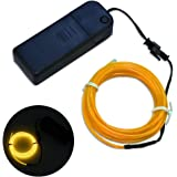 DODOLIGHTNESS New Arrival 9FT Neon Glowing Strobing Electroluminescent Wires,EL Wire 4 modes Battery Operated (Yellow)