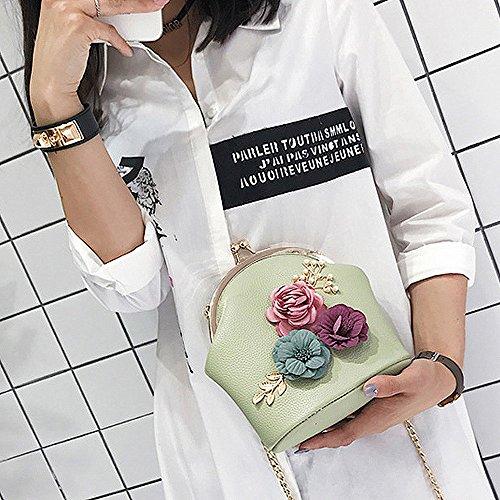 Retro Elegant Mode Chaîne Tout Femme Vert Sac Et Fille Fourre Fleurs Pour En Pochette Or Cuir Stéréo Main Cabas Bandoulière Porté Levifun Epaule Mini À ZcWBWa