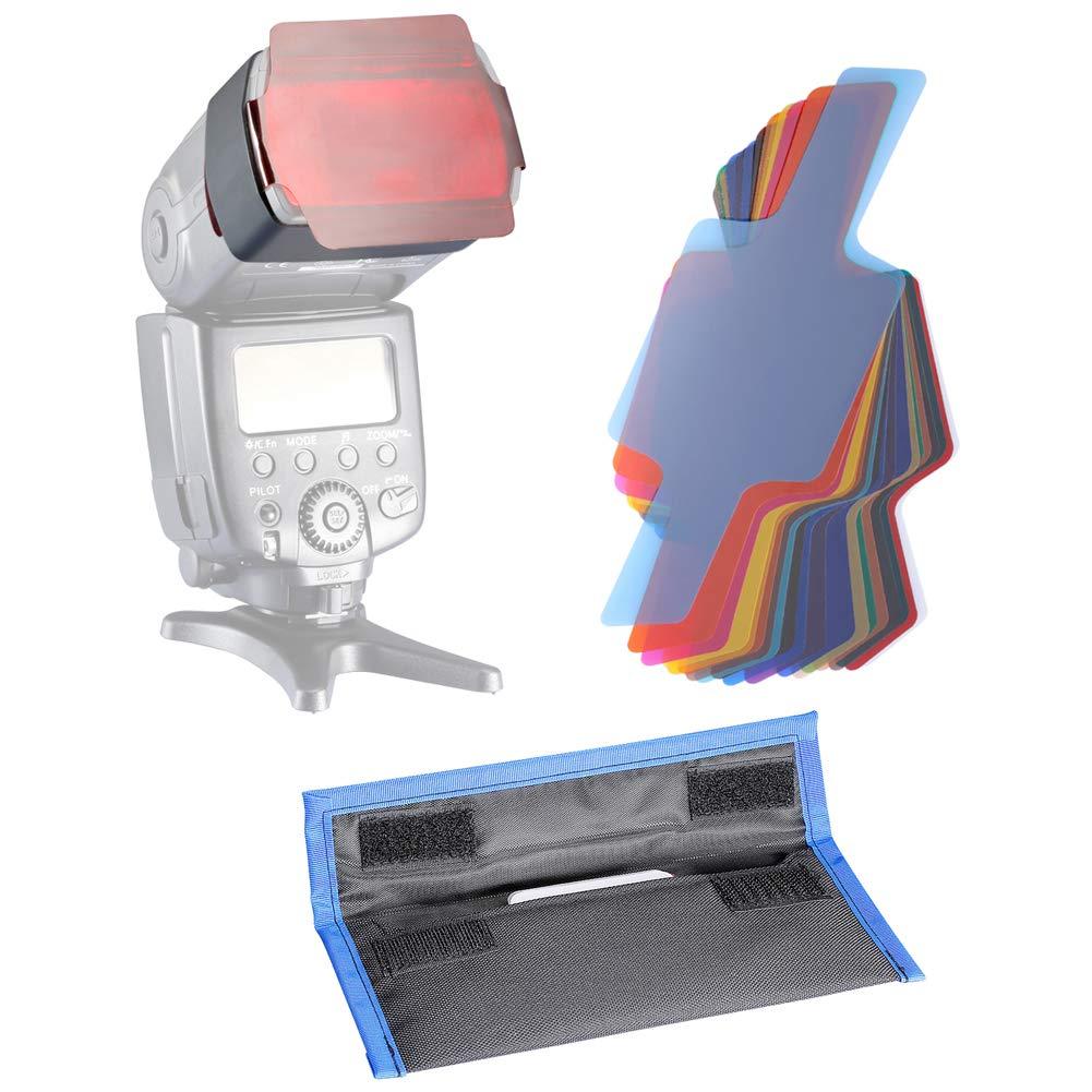 Neewer 10076679 Photographic 20-Piece Speedlite Flash Color Gels Universal Lighting Cinegel Filter Kit