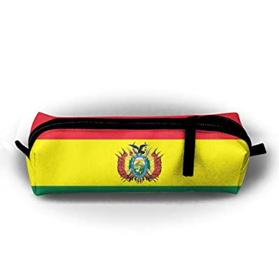 Bolivia Flag Pen Pencil Stationery Bag Makeup Case Travel Cosmetic Brush Accessories Toiletries Pouch Bags Zipper Resistance Carry Handle Power Lines Hanging Handbag Documents