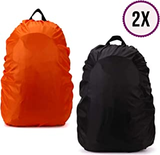 BTR Lightweight Waterproof Rucksack Covers. Pack of Two Backpack Covers (1 x Orange & 1 x Black). Size 35L