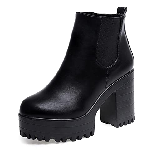 Botines para Mujer, K-Youth® 10cm Botas de Plataformas de Cuero Botines Moda para Mujeres Tacón Cuadrado: Amazon.es: Zapatos y complementos