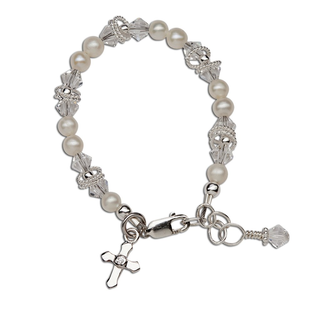 Children's Sterling Silver First Communion, Baptism Cross Bracelet with Cultured Pearl and Crystal