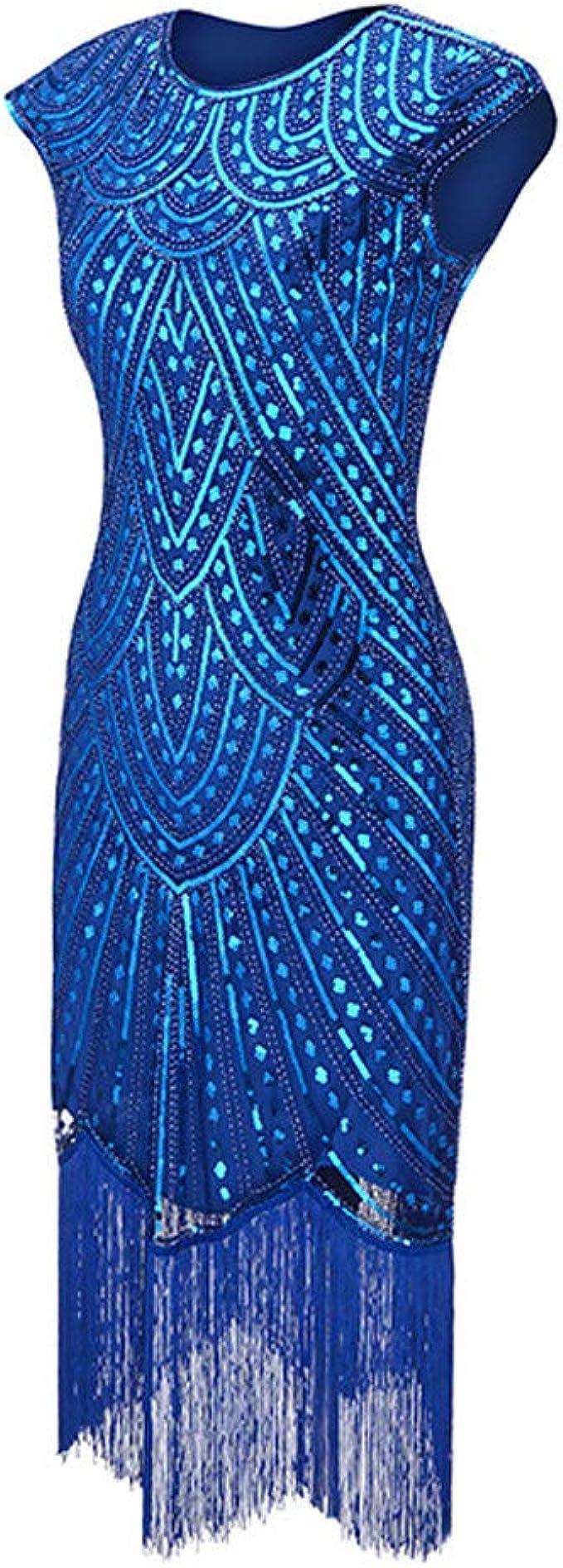 Zegeey Damen Kleid Retro 10er Jahre Paillettenkleid Abendkleid