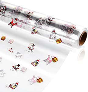 STOBOK Christmas Cellophane Wrap Roll - Unfolded Width 31.5 in x 100 Ft 3 Mil Thick Transparent Long Film Gift Wrappings for Baskets Gifts Flowers Food Safe Cello Rolls