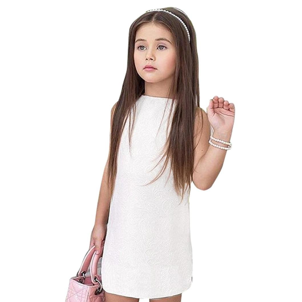 Voberry Baby Kid Girl Sleeveless Solid Color Heart Backless Princess Dress